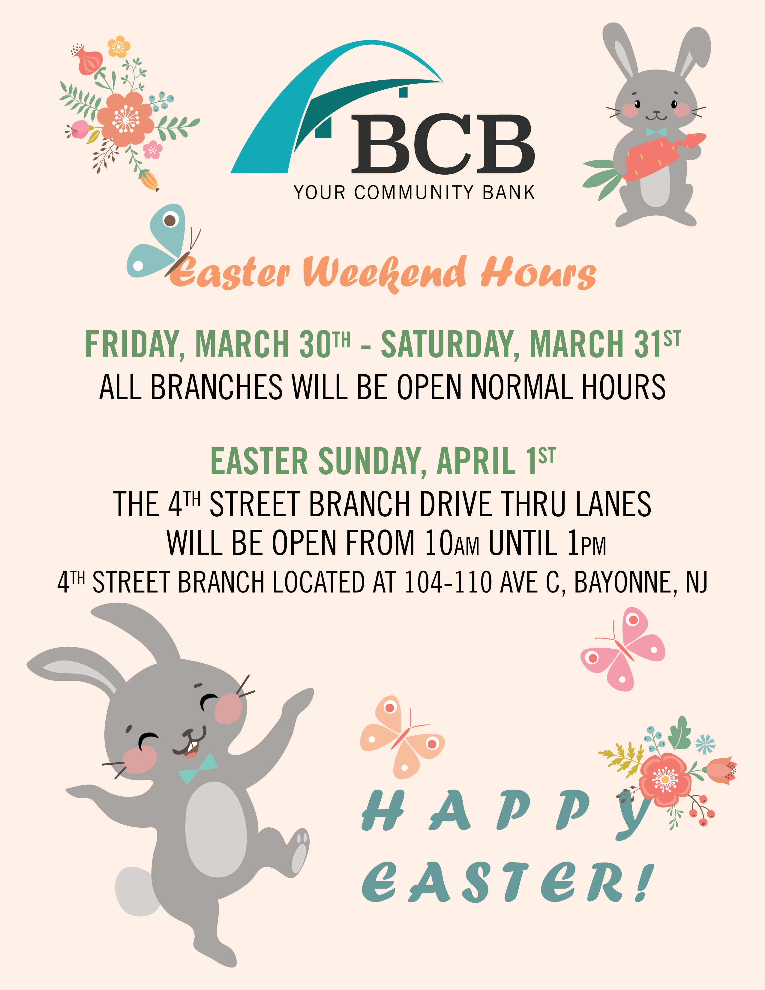 Happy Easter Weekend Hours