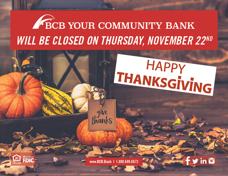 BCB Bank Thanksgiving hours