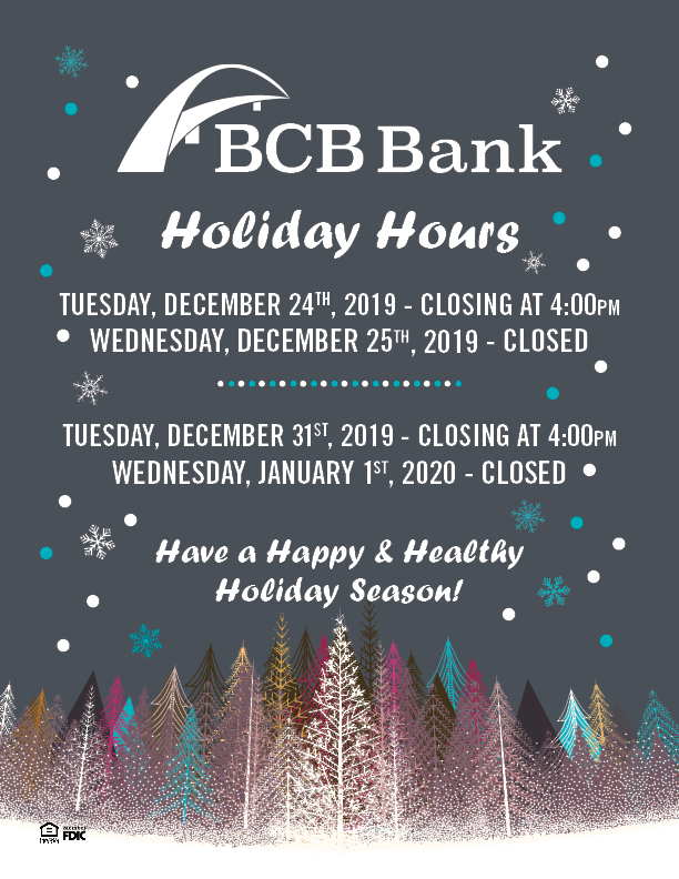 BCB Bank Christmas and New Years hours 2019